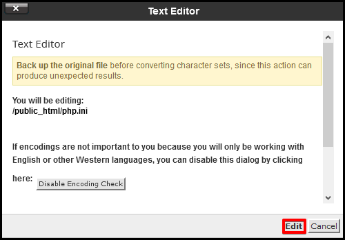 pop up window with information to be directed to text editor page